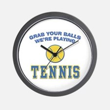 Grab Your Balls Tennis Wall Clock