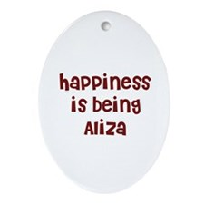 happiness is being Aliza Oval Ornament