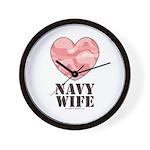 Navy Wife Pink Camo Heart Wall Clock