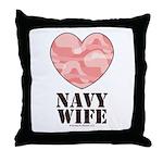 Navy Wife Pink Camo Heart Throw Pillow