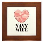 Navy Wife Pink Camo Heart Framed Tile