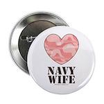 Navy Wife Pink Camo Heart Button