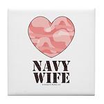 Navy Wife Pink Camo Heart Tile Coaster