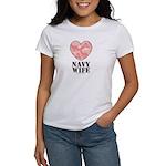 Navy Wife Pink Camo Heart Women's T-Shirt