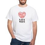 Navy Wife Pink Camo Heart White T-Shirt