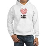 Navy Wife Pink Camo Heart Hooded Sweatshirt