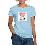 Navy Wife Pink Camo Heart Women's Light T-Shirt