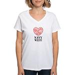 Navy Wife Pink Camo Heart Women's V-Neck T-Shirt