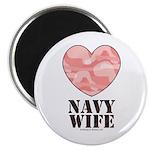 Navy Wife Pink Camo Heart Magnet