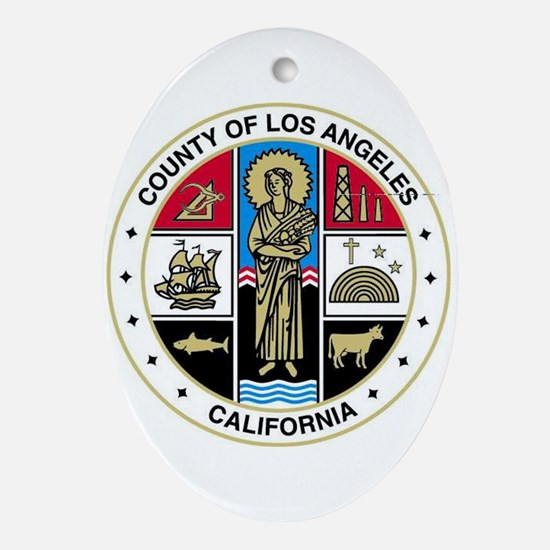 County Of Los Angeles Oval Ornament
