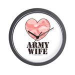 Army Wife Pink Camo Heart Wall Clock