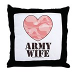 Army Wife Pink Camo Heart Throw Pillow