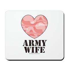 Army Wife Pink Camo Heart Mousepad
