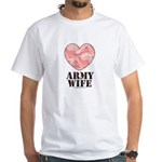 Army Wife Pink Camo Heart White T-Shirt