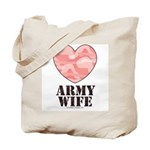 Army Wife Pink Camo Heart Tote Bag