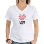 Army Wife Pink Camo Heart Women's V-Neck T-Shirt