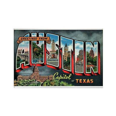 City Of Austin Postcard Rectangle Magnet