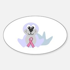 Pink Awareness Ribbon Seal Oval Decal