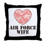 Air Force Wife Camo Heart Throw Pillow