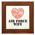 Air Force Wife Camo Heart Framed Tile