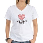 Air Force Wife Camo Heart Women's V-Neck T-Shirt