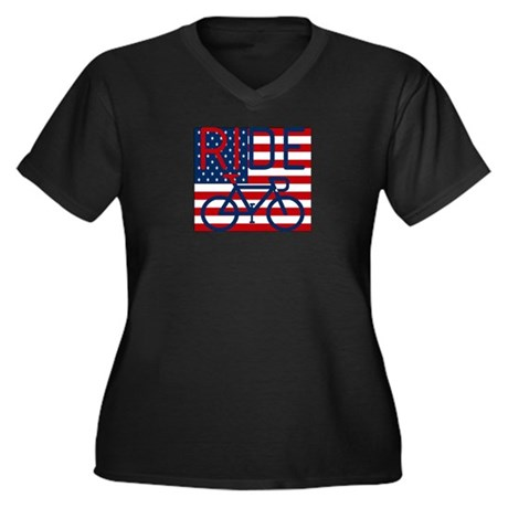 US FLAG RIDE Women's Plus Size V-Neck Dark T-Shirt