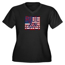 US FLAG RIDE Women's Plus Size V-Neck Dark T-Shirt