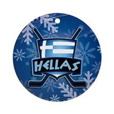 Greece Hellas Hockey Flag Ornament (round)