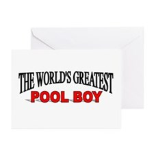 """""""The World's Greatest Pool Boy"""" Greeting Cards (Pa"""