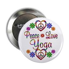 """Peace Love Yoga 2.25"""" Button (10 pack)"""