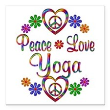 "Peace Love Yoga Square Car Magnet 3"" x 3"""