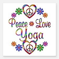 "Peace Love Yoga Square Car Magnet 3"" x 3"""