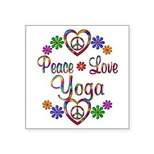 "Peace Love Yoga Square Sticker 3"" x 3"""