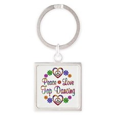 Peace Love Tap Dancing Square Keychain