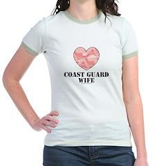 Coast Guard Wife Camo Heart Pink Jr. Ringer Tee