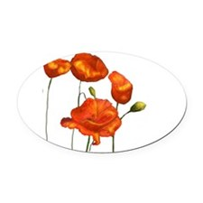Poppies Oval Car Magnet
