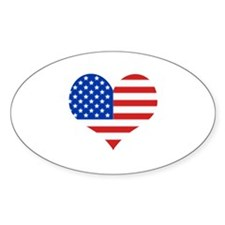 Stars and Stripes Heart Oval Decal