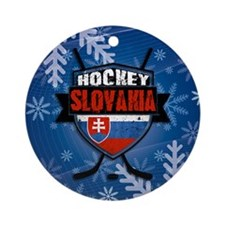 Slovakia Flag Hockey Logo Ornament (Round)