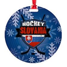 Slovakia Flag Hockey Logo Ornament