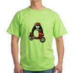 Red Scooter Penguin Green T-Shirt