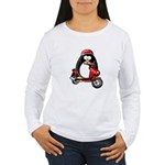 Red Scooter Penguin Women's Long Sleeve T-Shirt