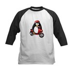 Red Scooter Penguin Kids Baseball Jersey