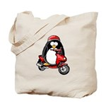 Red Scooter Penguin Tote Bag
