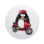 Red Scooter Penguin Ornament (Round)