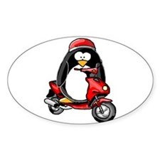 Red Scooter Penguin Oval Decal
