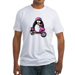 Pink Scooter Penguin Fitted T-Shirt