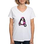 Pink Scooter Penguin Women's V-Neck T-Shirt