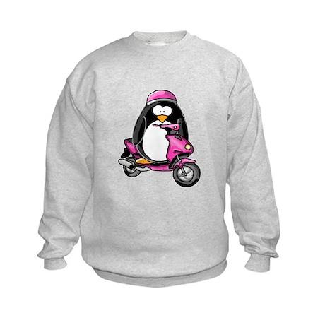 Pink Scooter Penguin Kids Sweatshirt