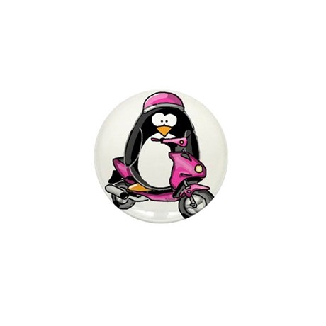 Pink Scooter Penguin Mini Button