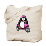 Pink Scooter Penguin Tote Bag